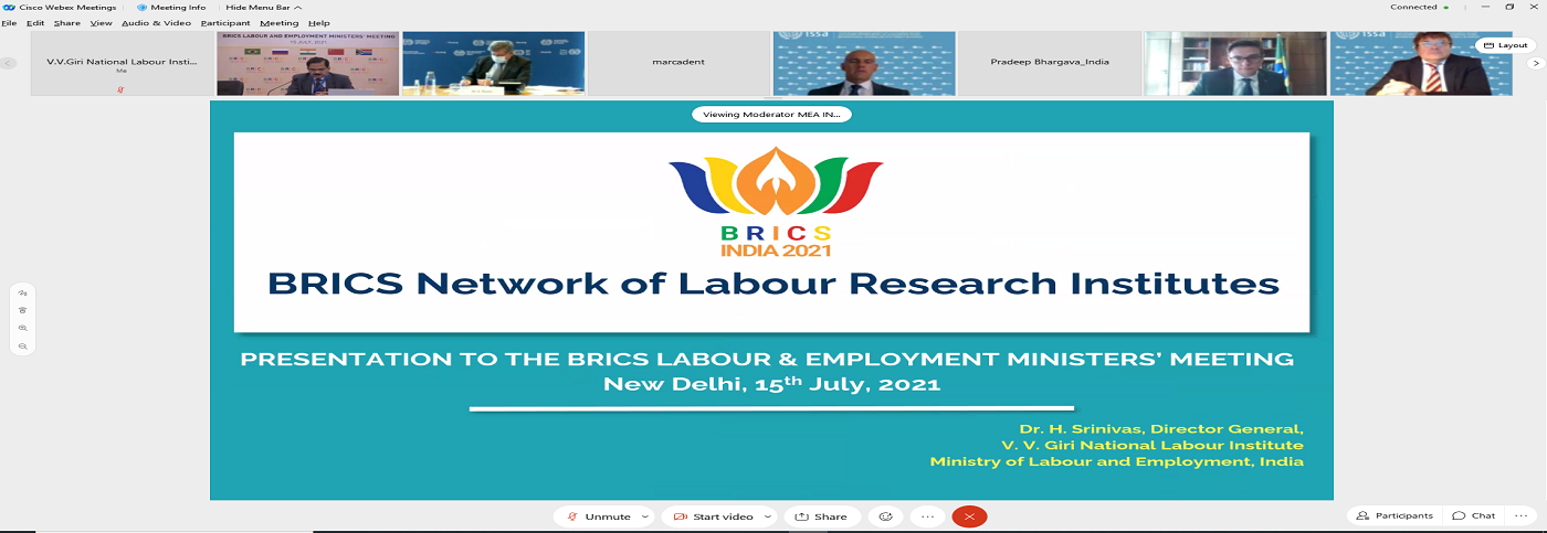 """India is chairing the BRICS, """"Labour and Employment Minister's Meeting 2021"""" held on 15th July, 2021. Dr. H. Srinivas, Director General, VVGNLI giving an overview of the activities of the"""