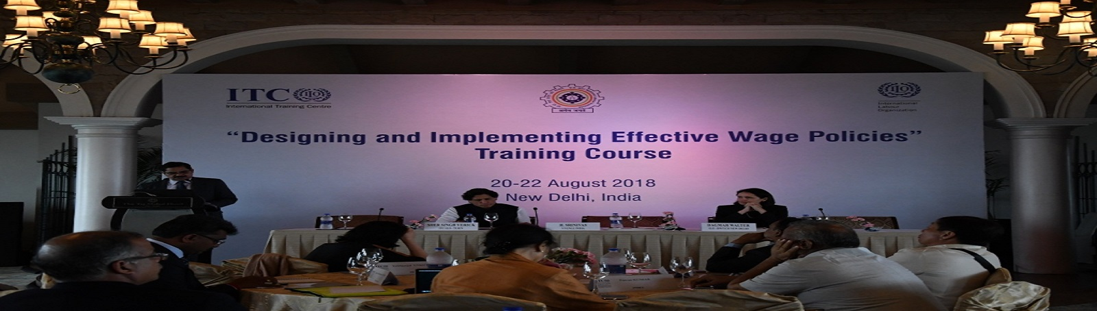 "Dr. H. SRINIVAS, Director General, VVGNLI inaugurated the International Training Programme on ""Designing and Implementing Effective Wage Policies"", organized in collaboration with International Training Centre of ILO during 20-22 August, 2018 at Hotel Taj"