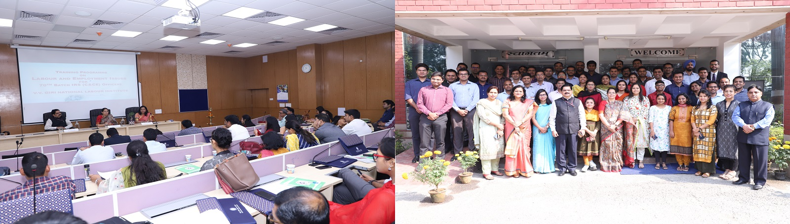 The V. V. Giri National Labour Institute conducted a one day Orientation Programme on Labour Employment Issues for the 70th batch of 52 IRS (C&CE) Officers on November 5, 2019. The Programme was inaugurated by Ms. Vibha Bhalla, IRS, Joint Secretary, Minis