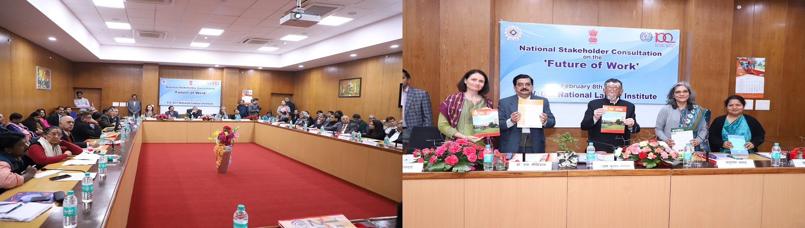 During this occasion Shri Santosh Kumar Gangwar, Hon'ble Minister of State for Labour & Employment (I/c) and others released the Future of Work Report, Work for a Brighter Future and VVGNLI publications titled 'Shram Sangam', 'Child Hope', 'Indradanush',